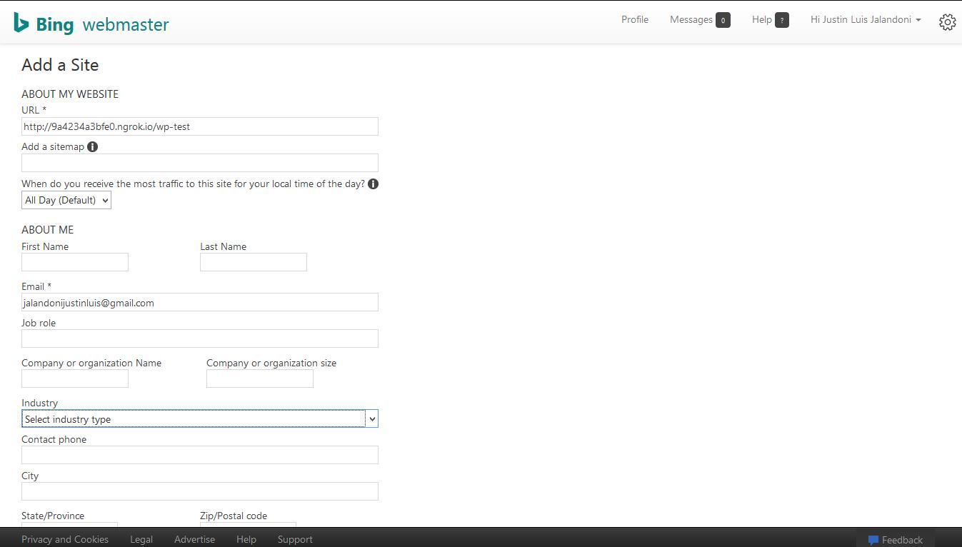 "Bing webmaster ""Add a Site"" page"