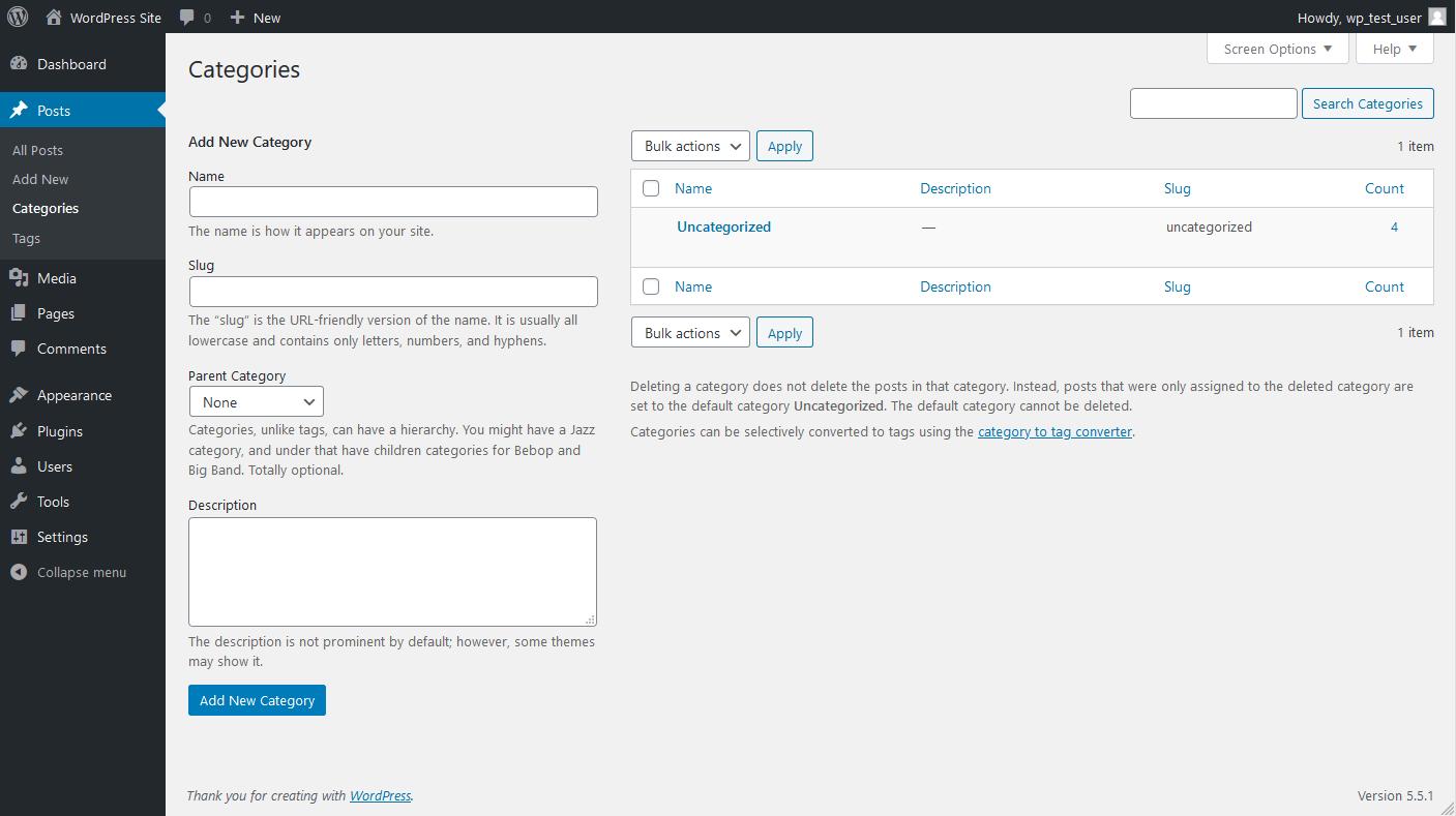 Create categories through the admin dashboard.