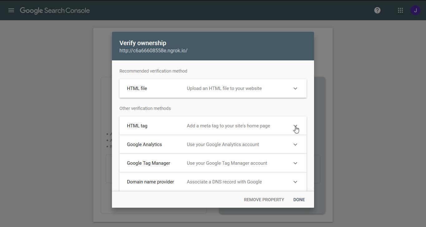 "Choose the ""HTML tag"" verification"