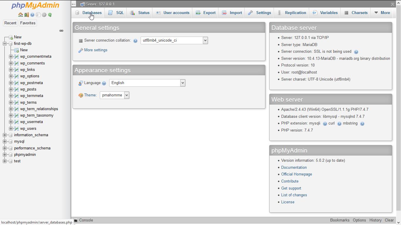 "Screenshot phpMyAdmin: click on ""Database"""