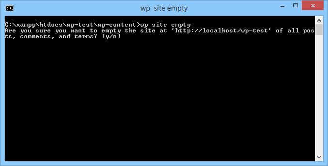 "Command line window with ""wp site empty"""
