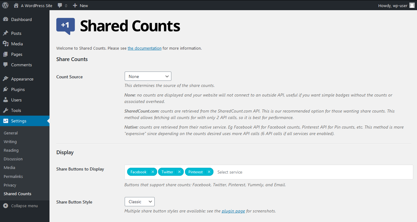 "Configure ""Shared Counts"""