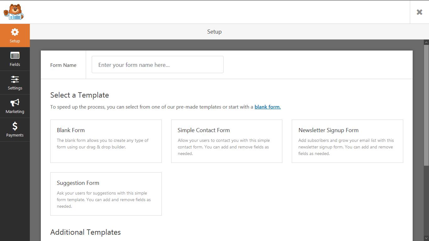 form setup page
