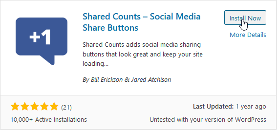 "Install ""Shared Counts"""