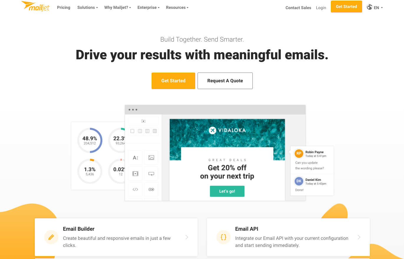 Screenshot Mailjet: Drive your results with meaningful emails.