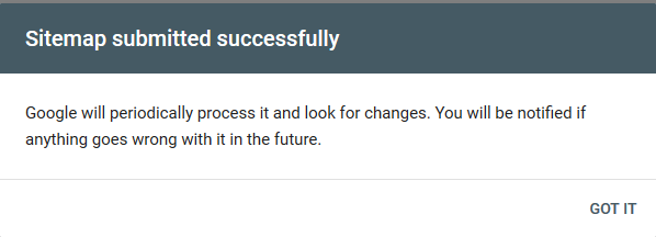 Message: Sitemap submitted successfully