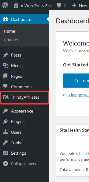 plugin ThirstyAffiliates in the sidebar