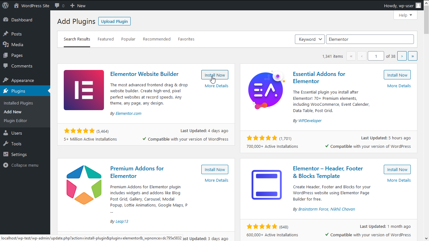 """Search for """"Elementor"""" plugin"""