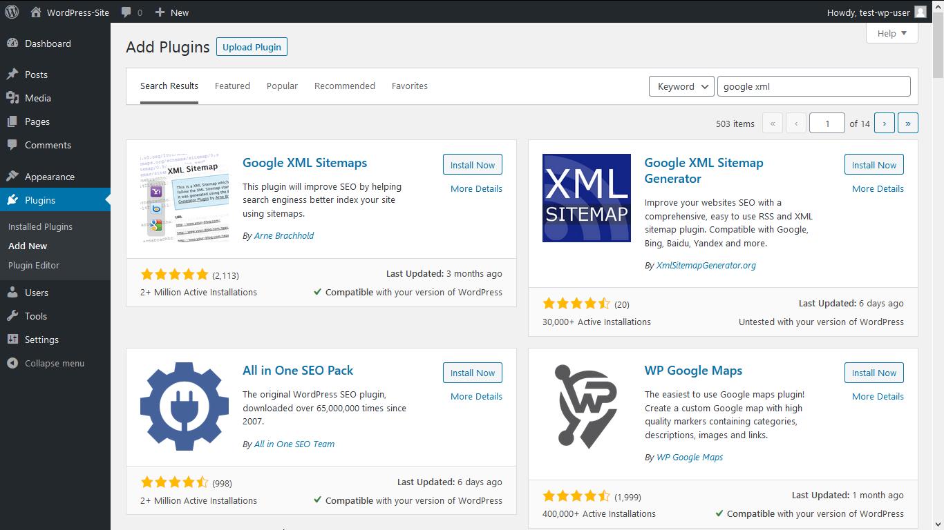 "Search for the ""Google XML"" Plugin"