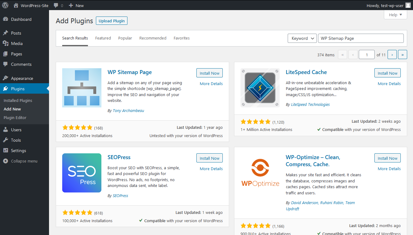 Search for the Wp Sitemap Page plugin