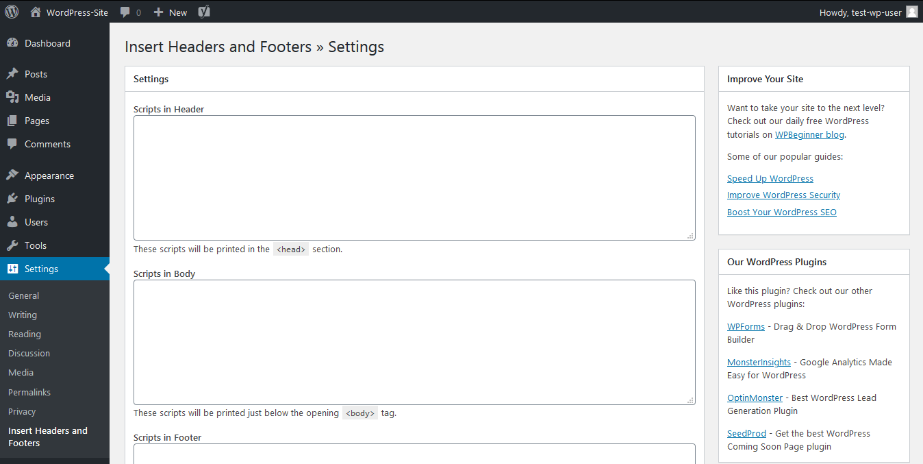 Settings page from the Insert Headers and Footers plugin
