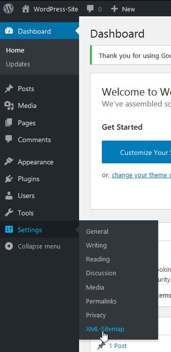 "Click on ""XML Sitemap"""