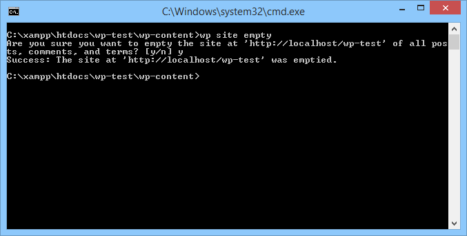 "Command line window with the message: The Site at ""http://localhost/wp-test"" was emptied."