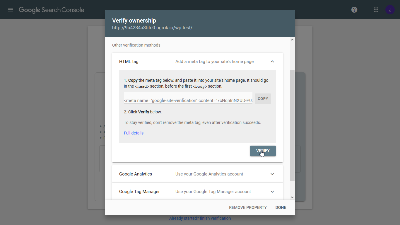 Verify ownership at the Google Search Console