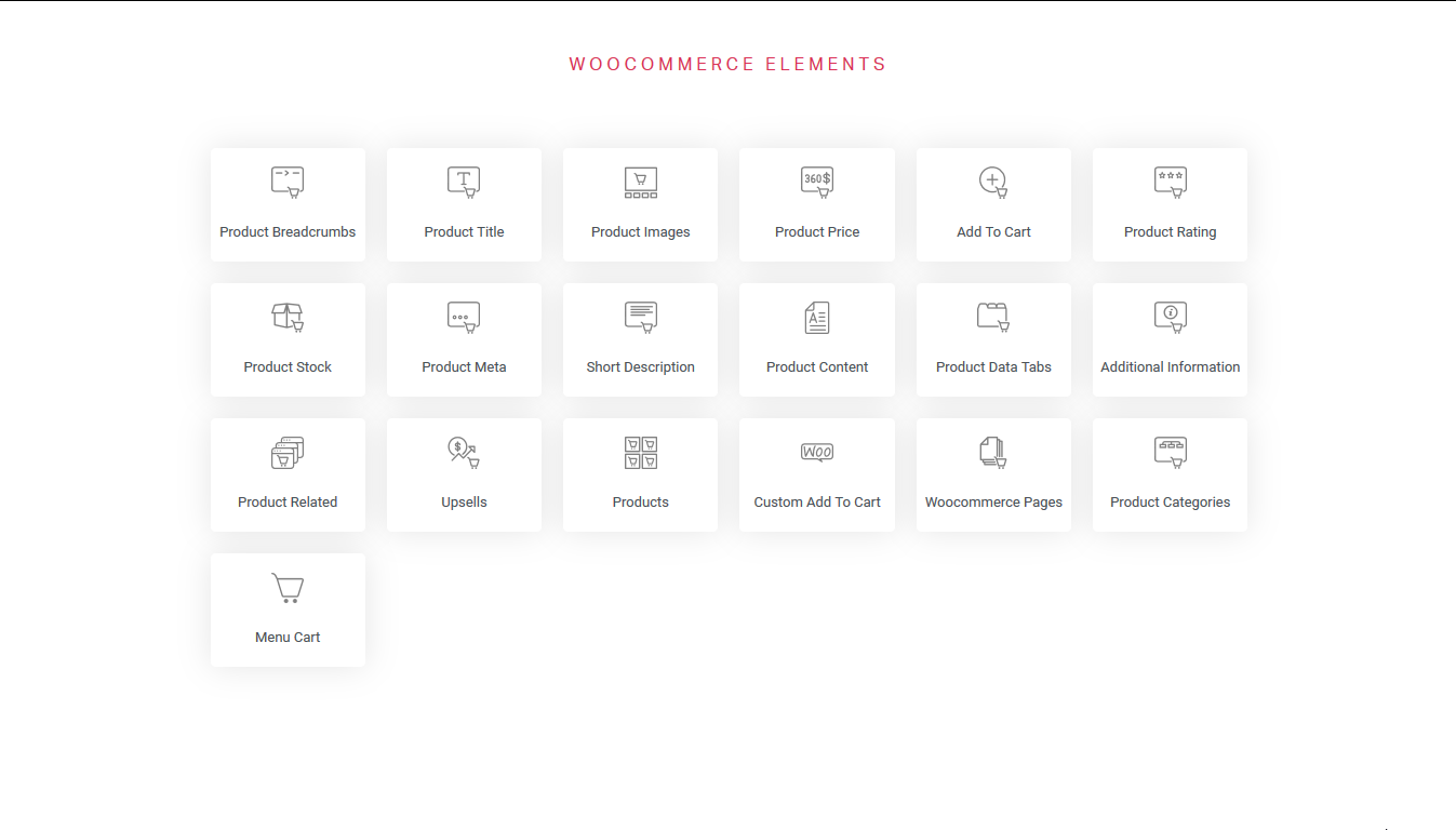 woocommerce elements