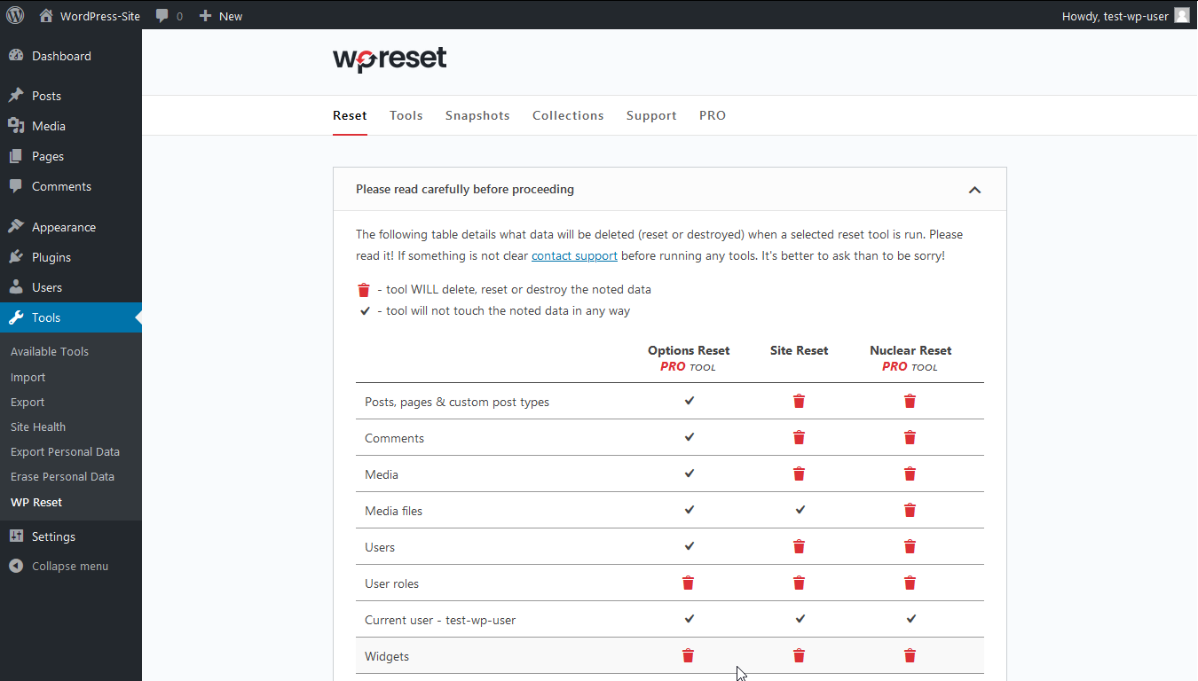 WP Reset page