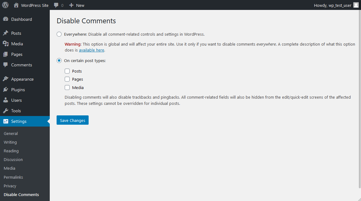Settings Disable Comments Plugin