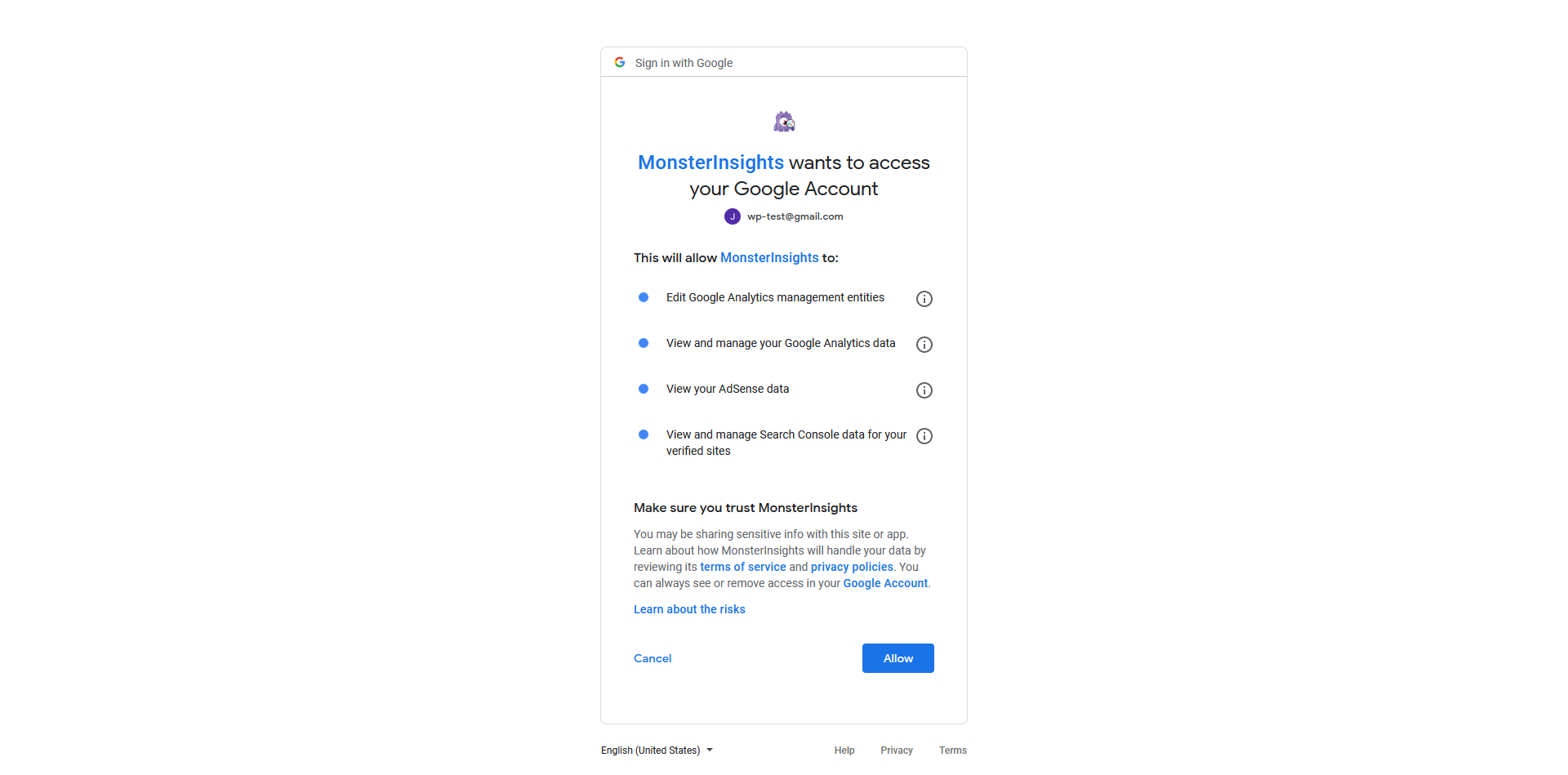 MonsterInsights wants to access your Google Account