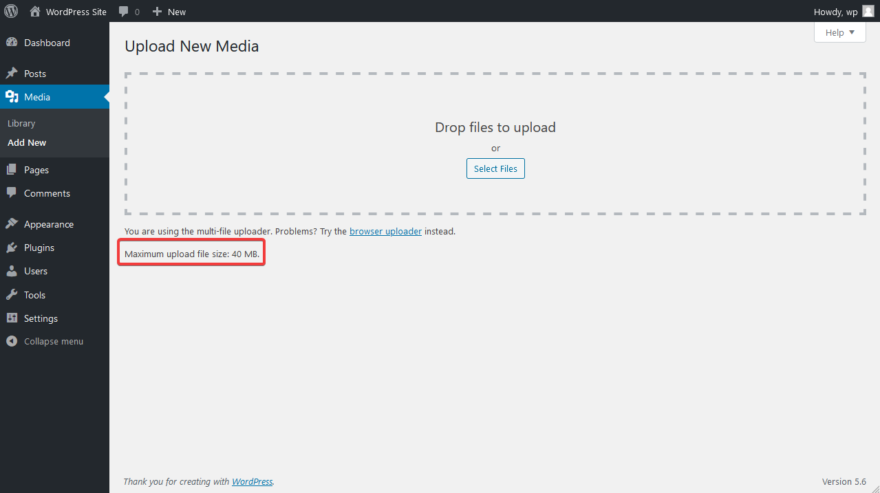 Upload Media Page