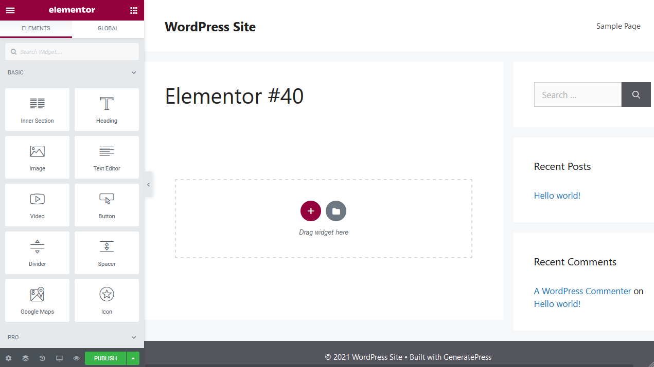 the Elementor page builder interface
