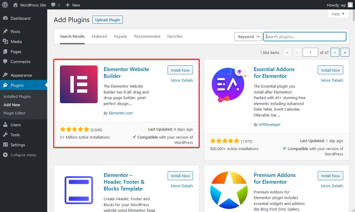 Search for Elementor Website Builder